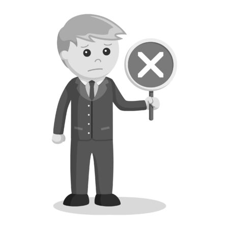 male lawyer with crosswise sign black and white style Ilustrace