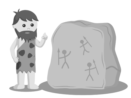 caveman write on stone with charcoal black and white style