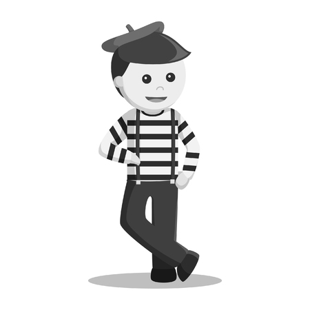 mime stand pose black and white style 向量圖像