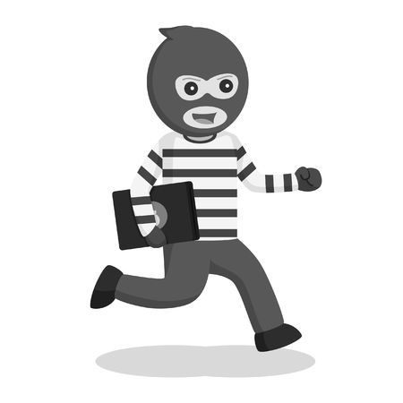 man thief stealing laptop black and white style