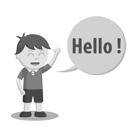 little boy waving his hand and say hello black and white style  イラスト・ベクター素材