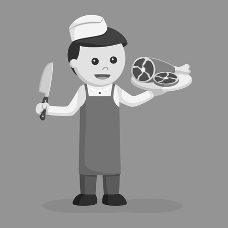 butcher man with meat black and white style