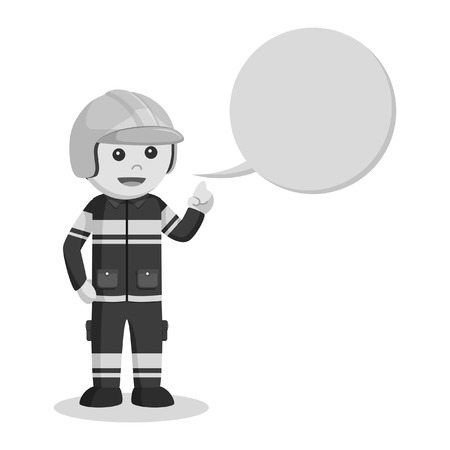 fireman with callout black and white style