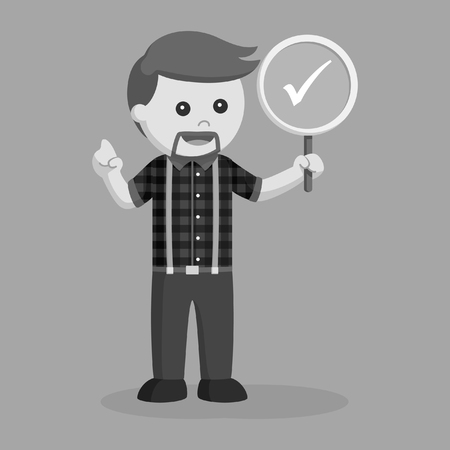 Lumberjack with checklist sign, black and white style.