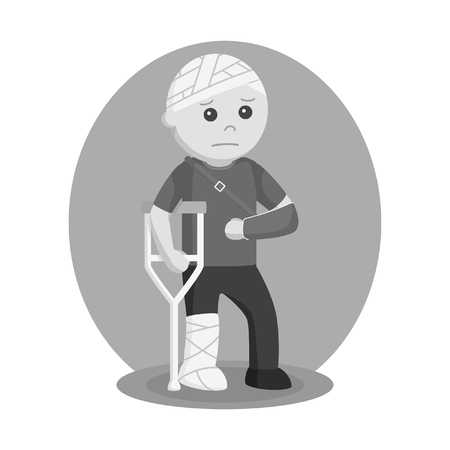 man badly injury vector illustration design black and white style