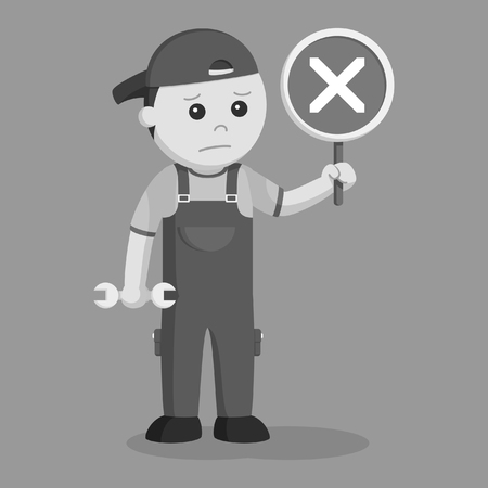 mechanic with crosswise sign indicate failed repair black and white style Ilustração