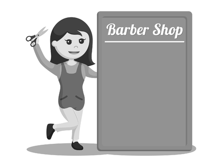 female barber shop with barber shop board black and white style Illustration