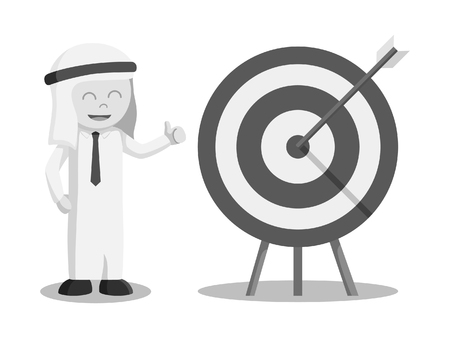 Arab businessman happy on target black and white style Illustration
