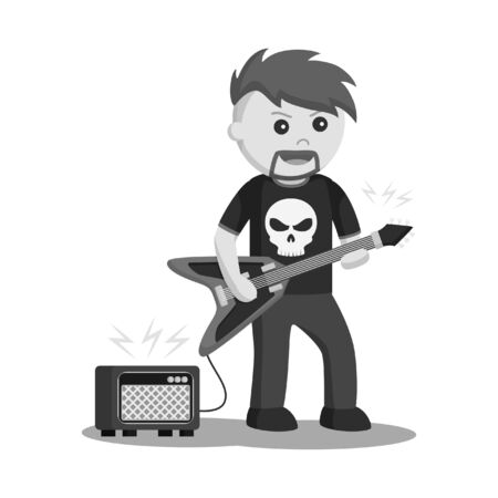 Rock guitarist with amplifier black and white style