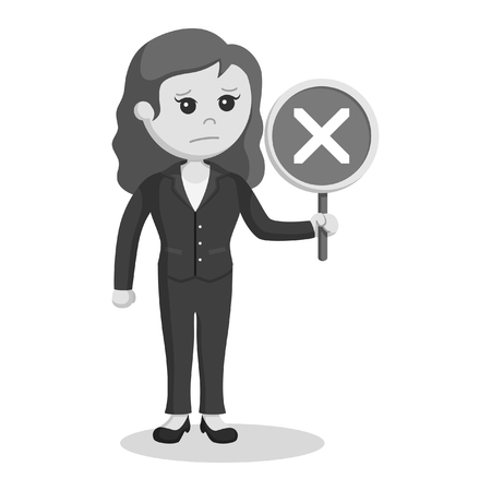 female lawyer with crosswise sign black and white style
