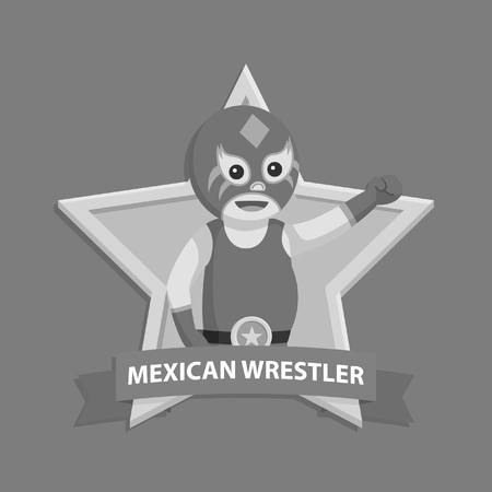 Lucha libre in wrestler emblem black and white style.