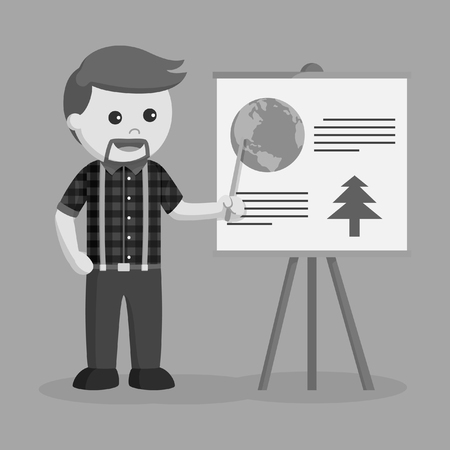 lumberjack giving presentation about logging black and white style