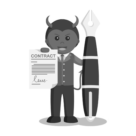 businessman satan hold contract sheet and big pen black and white style