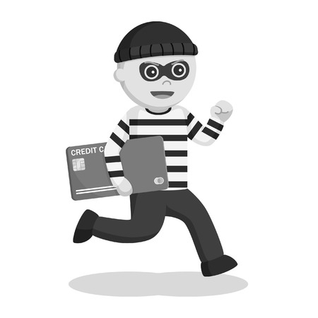 Thief stealing credit card black and white style Ilustrace
