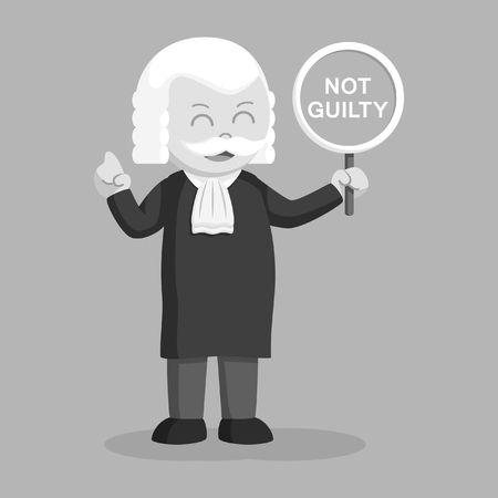 fat judge with not guilty sign black and white style