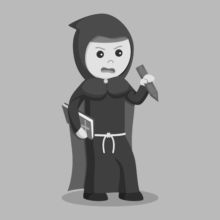black monk with bible and stake black and white style