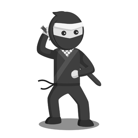 ninja with katana vector illustration design black and white style