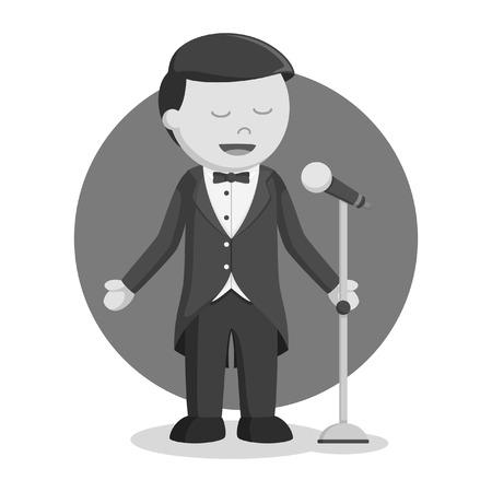 opera singer man black and white style Illustration