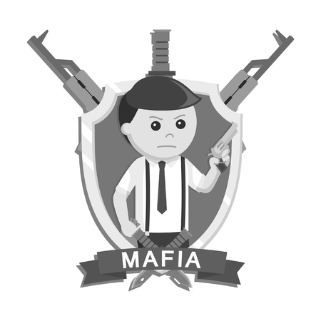 Mafia holding pistol in emblem black and white style Illustration