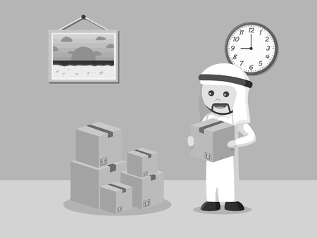 arab businessman arrange cardboard black and white style Stock Illustratie