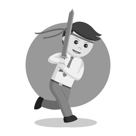 Office warrior with katana black and white style