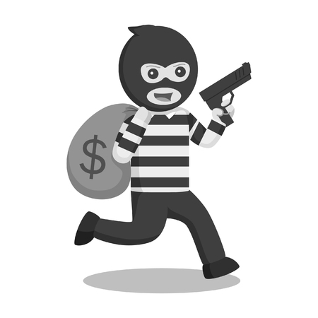 thief holding gun and running with money black and white style Illustration