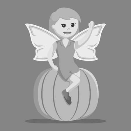 autumn female fairy sit on pumpkin black and white style Illustration