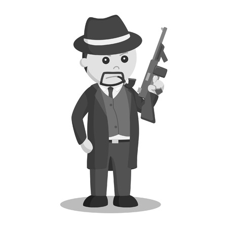 crime boss with holding a gun black and white style Stock Illustratie