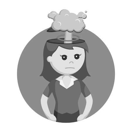 Girl with explosion in her head black and white style