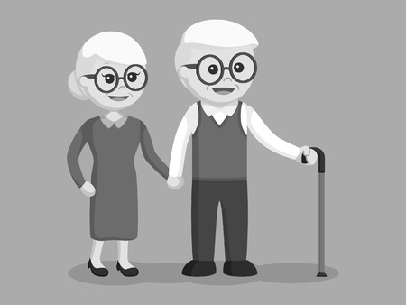 Elderly couple holding hands black and white style.