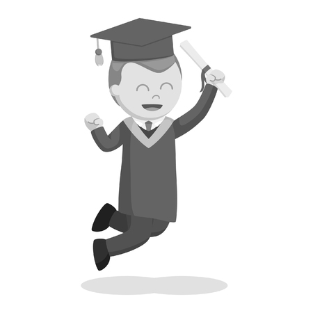 graduate male student jumping excited black and white style Illustration