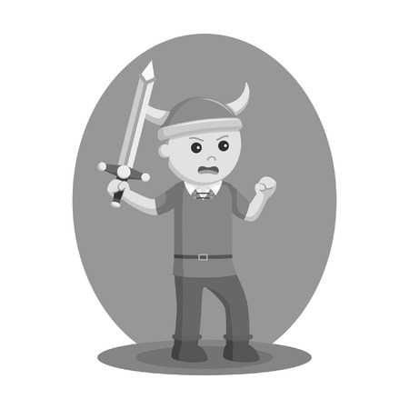 Viking soldier in black and white style