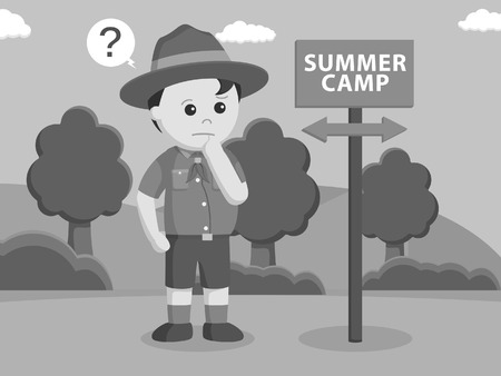 confused with summer camp direction black and white style