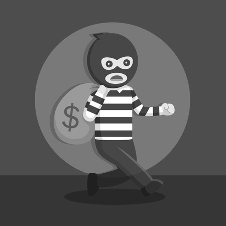 Thief get caught in action black and white style.