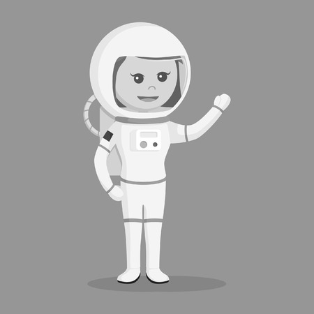 Astronaut girl giving greeting black and white style.