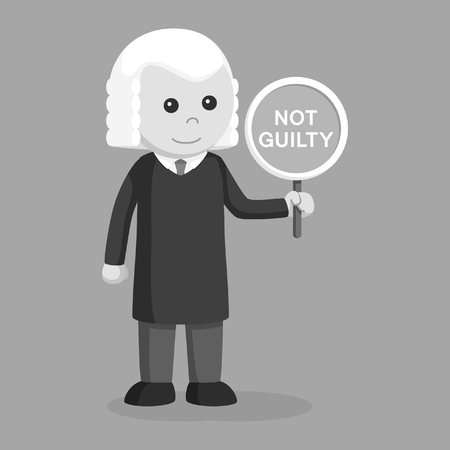Judge with not guilty sign black and white style.  イラスト・ベクター素材