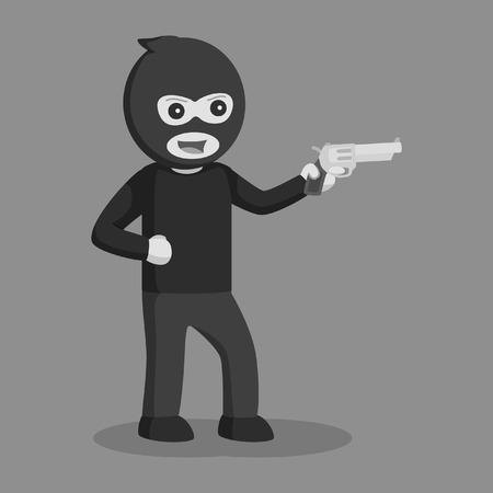 Man thief with handgun black and white style