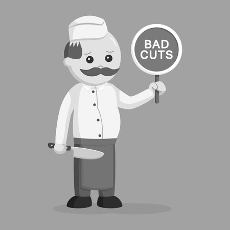 fat butcher man with bad cuts sign black and white style