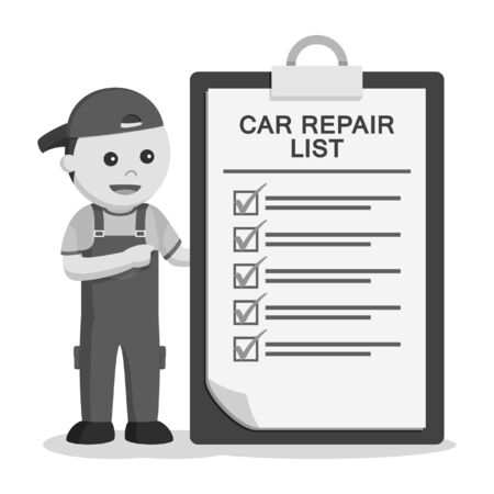 mechanic with repair list clipboard black and white style