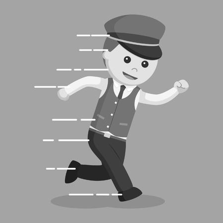 Male valet running illustration design black and white style