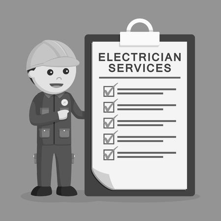 Electrician with service clipboard black and white style Vettoriali