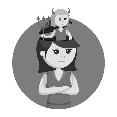 Girl with devil in her head black and white style