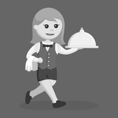 waitress with platter and running black and white style Ilustrace