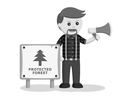 lumberjack with protected forest sign and megaphone black and white style