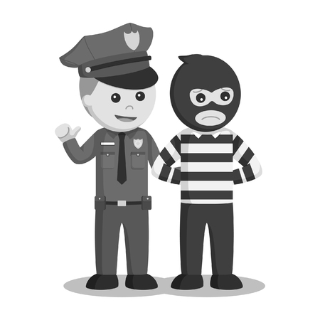 police officer arrest bank thief black and white style
