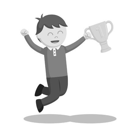 Man winning trophy vector illustration design black and white style