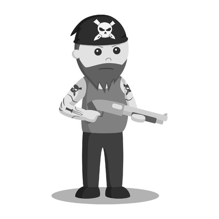 Gangster wield shotgun vector illustration design black and white style