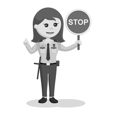 Security officer woman with stop sign black and white style