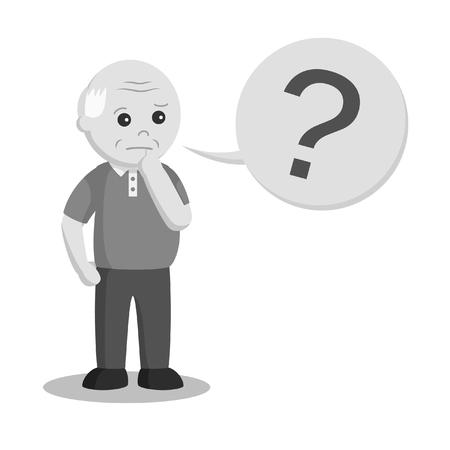 viejo con marca pregunta estilo blanco y negro