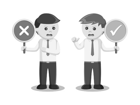 Businessman arguing with right wrong sign black and white style. Stock Illustratie